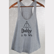 Harry Potter Tank Top. Dobby Is My Hero! Women's Racerback Heather Grey Shirt