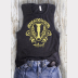 Women's Muscle Tank Hufflepuff Harry Potter Top. Yellow Ink on Charcoal