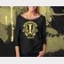 Hufflepuff Harry Potter Shirt, Womens 3/4 Sleeve Slouchy, Yellow Ink on Black