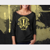 Hufflepuff Harry Potter Shirt, Womens 3/4 Sleeve Slouchy, Yellow Ink on Black