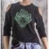 Cold Shoulder Slytherin Shirt 3/4 Sleeve Harry Potter Top. Metallic Green Ink
