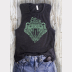 Women's Muscle Tank Slytherin Harry Potter Top. Green Ink on Heather Charcoal