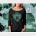 Slytherin Harry Potter Shirt, 3/4 Sleeve Slouchy, Metallic Green Ink on Black