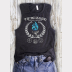 Women's Muscle Tank TriWizard Tournament Harry Potter Top. Off-White & Blue Ink