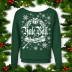 Harry Potter Ugly Xmas Sweater Women's Slouchy Off-The-Shoulder. Forest Green