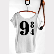 Platform 9 3/4 Harry Potter Shirt, Women's Slouchy Tee. Heather Ash White