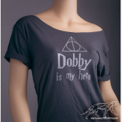 Dobby Harry Potter Shirt, Women's Off The Shoulder Slouchy Tee in Charcoal Grey