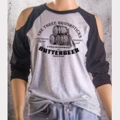 Cold Shoulder Butterbeer Shirt 3/4 Sleeve Harry Potter Top White/Black