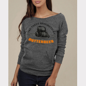 "Butterbeer Women's Sweatshirt. ""Maniac"" Off-The-Shoulder Raw Edge Sweater"