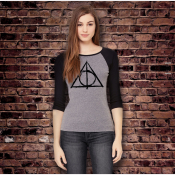 Deathly Hallows Shirt. Women's Stretchy Fitted Baseball Tee, 3/4 Sleeve