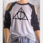 Cold Shoulder Deathly Hallows Shirt 3/4 Sleeve Harry Potter Top