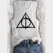 Women's Low-Side-Cut Muscle Tank Deathly Hallows Harry Potter Top Heather White