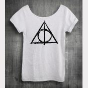Deathly Hallows Harry Potter Shirt, Women's Off The Shoulder Slouchy Tee