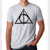 Deathly Hallows Shirt Harry Potter Unisex Heather Ash White Tee with Black Ink