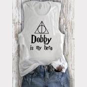 Women's Low-Side-Cut Muscle Tank Dobby Harry Potter Top. Heather White
