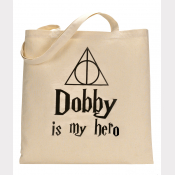 Dobby Tote Bag - DOBBY Is My Hero Harry Potter Natural Cotton Flat Tote