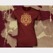 Gryffindor Harry Potter Women's Stretchy Fitted Tee. Gold Ink on Scarlet