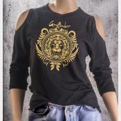 Cold Shoulder Gryffindor Shirt 3/4 Sleeve Harry Potter Top. Gold Ink on Black