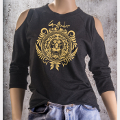 Cold Shoulder Gryffindor Shirt 3/4 Sleeve Harry Potter Top. Gold Ink on Black
