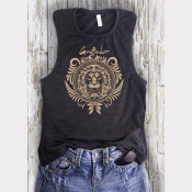Women's Muscle Tank Gryffindor Harry Potter Top. Gold Ink on Heather Charcoal