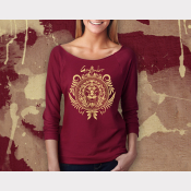 Gryffindor Harry Potter Shirt, Womens 3/4 Sleeve Slouchy, Gold Ink on Scarlet