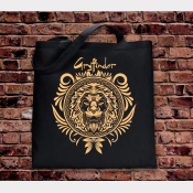 Gryffindor Tote Bag. Hogwarts House Bag. Black Cotton Flat Tote with Gold Ink