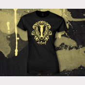 Hufflepuff Harry Potter Women's Stretchy Fitted Tee. Bright Yellow Ink on Black