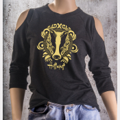 Cold Shoulder Hufflepuff Shirt 3/4 Sleeve Harry Potter Top. Yellow Ink on Black