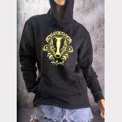 Hufflepuff Fitted Hoodie Harry Potter Unisex Sweatshirt. Yellow Ink on Black
