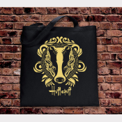 Hufflepuff Tote Bag. Hogwarts House Bag. Black Cotton Flat Tote with Yellow Ink