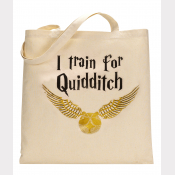 Quidditch Harry Potter Tote Bag. Natural Cotton Flat Tote with A Golden Snitch!