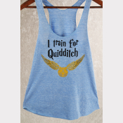 Quidditch Racerback Harry Potter Tank Top - XSmall thru 2XLarge Sizes. Blue