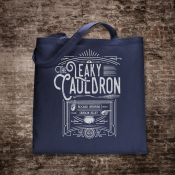 Leaky Cauldron Tote Bag. Navy Cotton Flat Tote with Off-White Ink