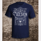 Leaky Cauldron Shirt Harry Potter Unisex Navy Tee with Off-White Ink