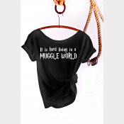 Muggle World Harry Potter Shirt, Women's Off The Shoulder Slouchy Tee. Black