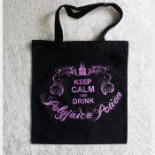Polyjuice Potion Tote Bag. Black Cotton Flat Tote - Keep Calm & Drink Polyjuice