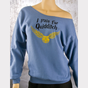 Quidditch Slouchy Sweatshirt. Denim Blue Harry Potter Off-The-Shoulder Top