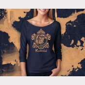 Ravenclaw Harry Potter Shirt, 3/4 Sleeve Slouchy, Metallic Bronze Ink on Navy