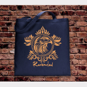 Ravenclaw Tote Bag. Hogwarts House Bag. Navy Cotton Flat Tote with Bronze Ink