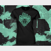 Slytherin Harry Potter Women's Stretchy Fitted Tee. Metallic Green Ink on Black