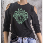 Cold Shoulder Slytherin Shirt 3/4 Sleeve Harry Potter Top. Metallic Green Ink