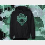 Slytherin Hoody Harry Potter Sweatshirt. Unisex Black Hoodie with Metallic Green