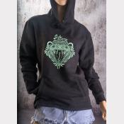 Slytherin Fitted Hoodie Harry Potter Unisex Sweatshirt. Green Ink on Black