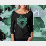 Slytherin Harry Potter Shirt, 3/4 Sleeve Slouchy, Metallic Green Ink on Black