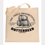 Butterbeer Tote Bag. The Three Broomsticks at Hogsmeade! Natural Cotton Flat Tot