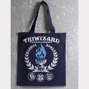 TriWizard Tournament Harry Potter Tote Bag. Navy Cotton Flat Tote