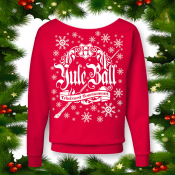 Harry Potter Ugly Xmas Sweater Women's Slouchy Off-The-Shoulder. Red